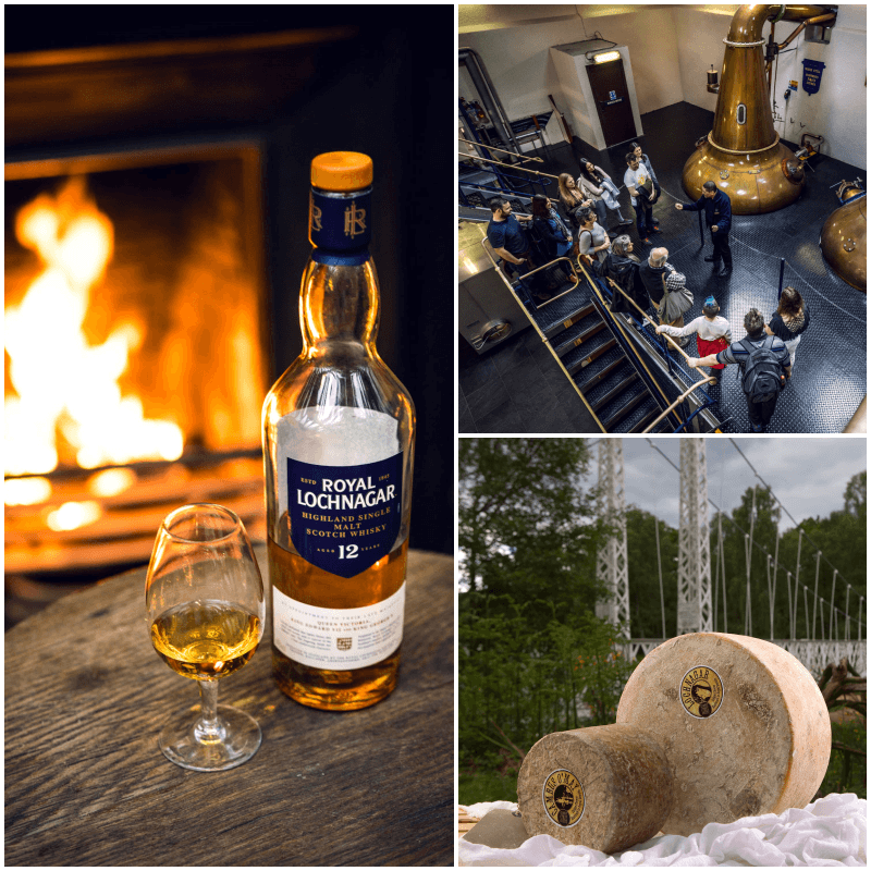 Whisky and cheese collage