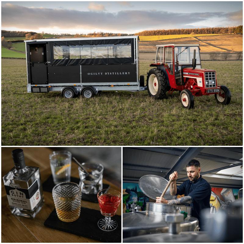 Ogilvy tractor and trailer in field. vodka distillery. gin bothy tasting